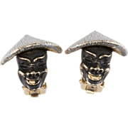 Enameled Face Earrings w/ Chinese Hats