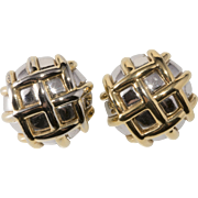 Ciner Basket Weave Round Earrings