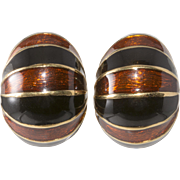Ciner Black and Brown Enameled Half Hoop Earrings