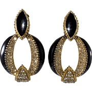 Ciner Black Enamel Clear Rhinestones Door Knocker Earrings