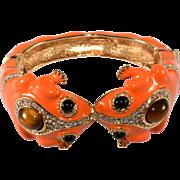 Ciner Twin Frogs Bracelet Orange Enamel Rhinestones