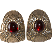 Ciner David Hill Red Cabochon Rhinestone Earrings