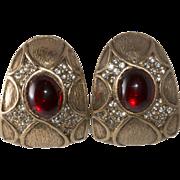 Ciner David Hill Red Cabochon Rhinestone Earrings