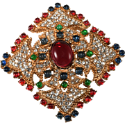 Ciner Jewel Tone Cabochon Rhinestones Brooch Pin