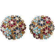 Ciner Turquoise Blue Ruby Red Rhinestone Earrings