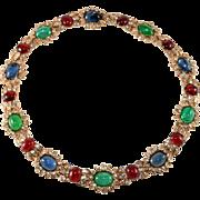 Ciner Jewel Tone Cabochon Rhinestone Necklace