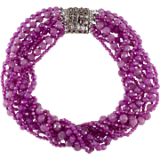 Ciner Purple Glass Bead Torsade Necklace Rhinestone Clasp
