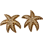 Ciner Starfish Earrings Vintage Clip Backs
