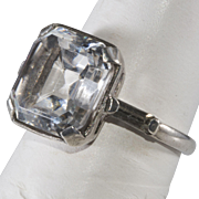 Ciner 1930s Sterling Silver Rhinestone Ring