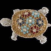 Ciner Turtle Rhinestone Brooch Pin Vintage