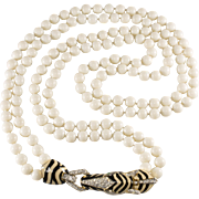 Ciner Enameled Rhinestones Zebra Bead Necklace