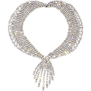 Vintage Clear Rhinestone Collar Necklace with Dangles