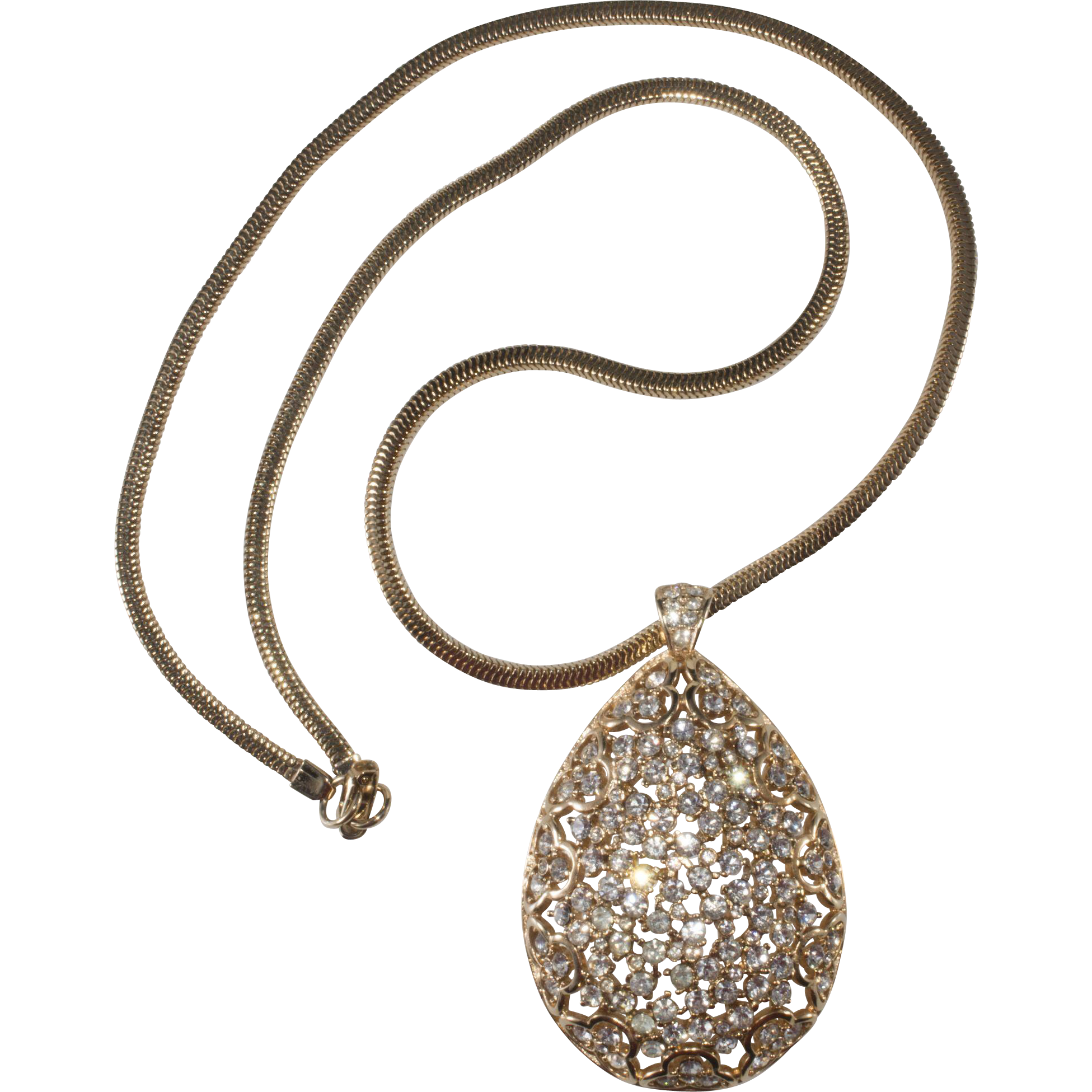 1960s Clear Rhinestone Pendant Necklace