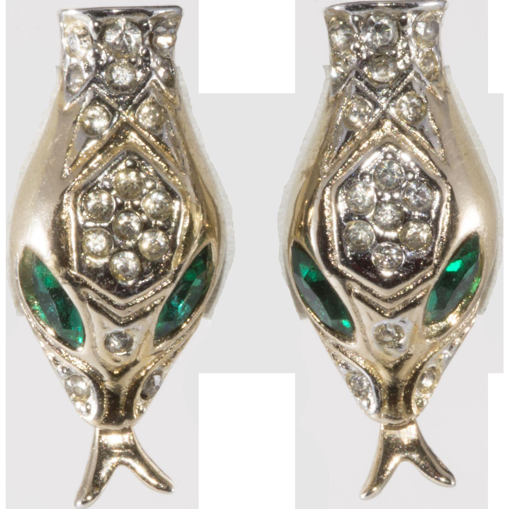 Coro 1940s Snake Head Rhinestone Earrings