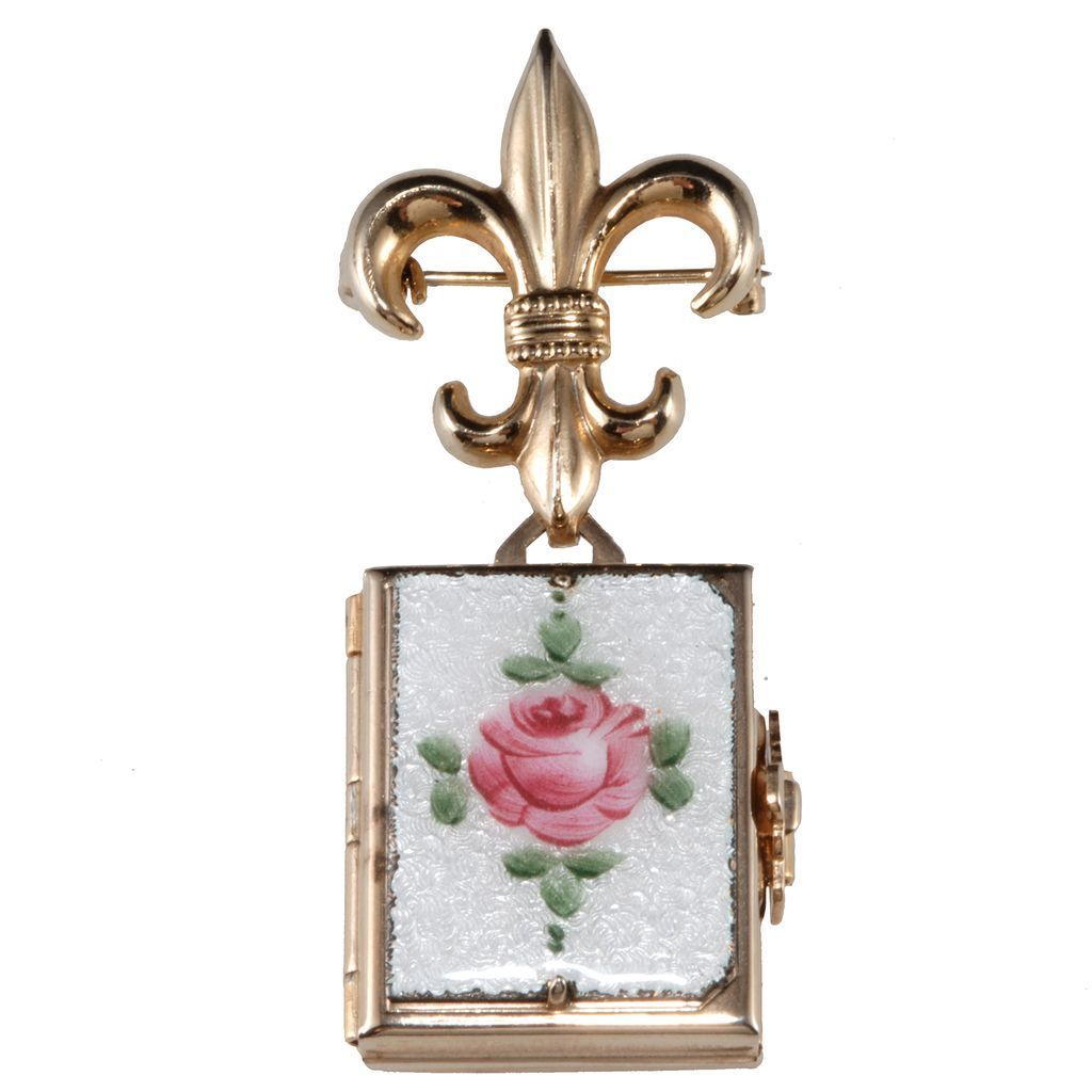 Coro Guilloche Rose Fold-Out Locket Brooch Pin