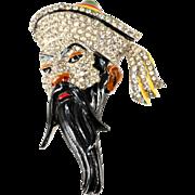 Coro Fujiman Asian Man Head Brooch Pin 1942 Vintage