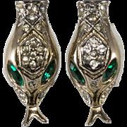 Coro Snake Head Earrings Green Rhinestone Eyes
