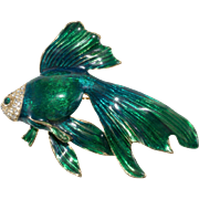 Marked Craft Green Enameled Fish Rhinestones Brooch Pin