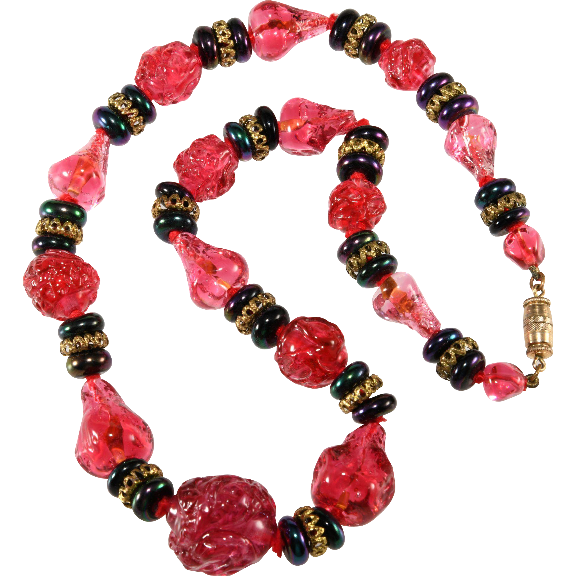 Cranberry Glass Beaded Necklace Vintage