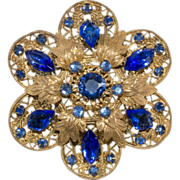 1930s Czech Filigree Blue Rhinestones Brooch Pin
