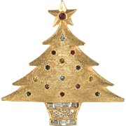DeNicola Rhinestone Christmas Tree Pin Brooch 1960s Vintage