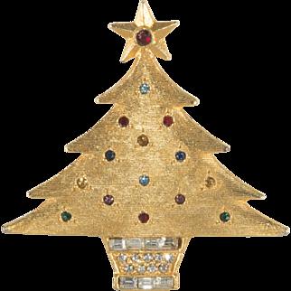DeNicola Rhinestone Christmas Tree Pin Brooch 1960s Vintage
