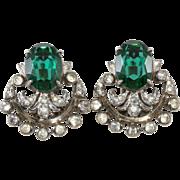 DeRosa Sterling Emerald Green Clear Rhinestone Earrings