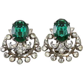 DeRosa Sterling Emerald Green Clear Rhinestone Earrings