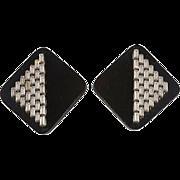 1980s Black Clear Rhinestone Earrings