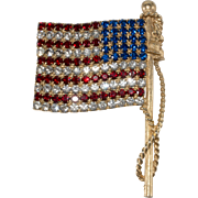 Thelma Deutsch LARGE American Flag Pin Brooch Patriotic