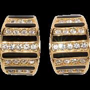 Dior Black Enamel & Rhinestone Half Hoop Earrings