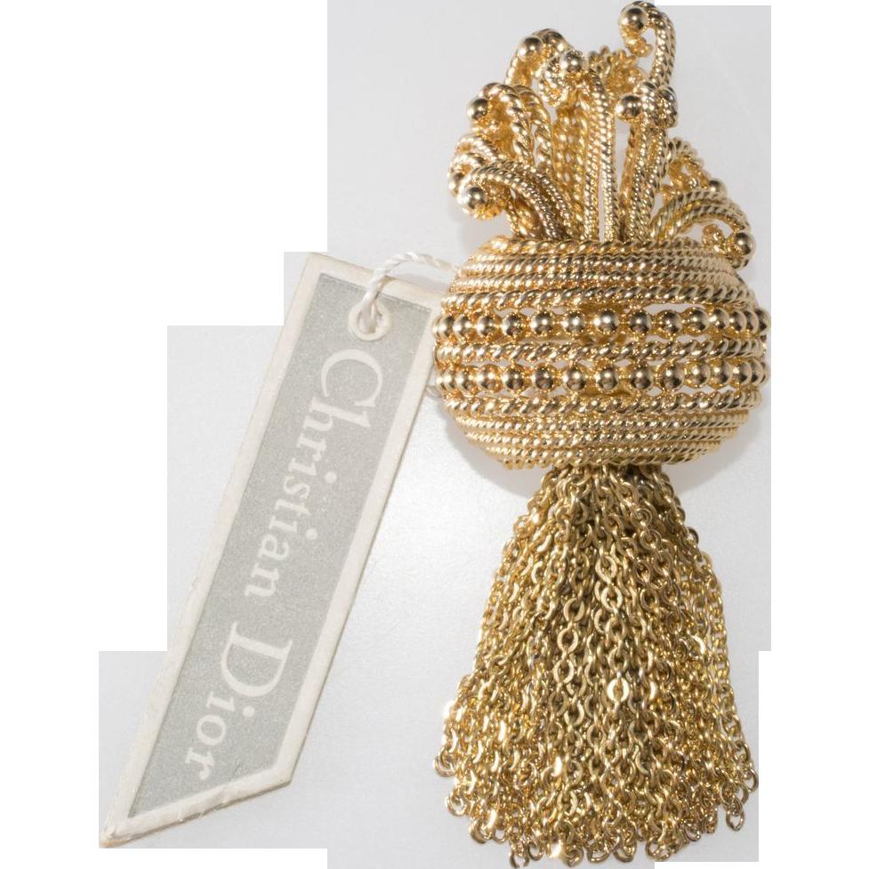 Christian Dior Chain Dangle Brooch Pin w/ Tag