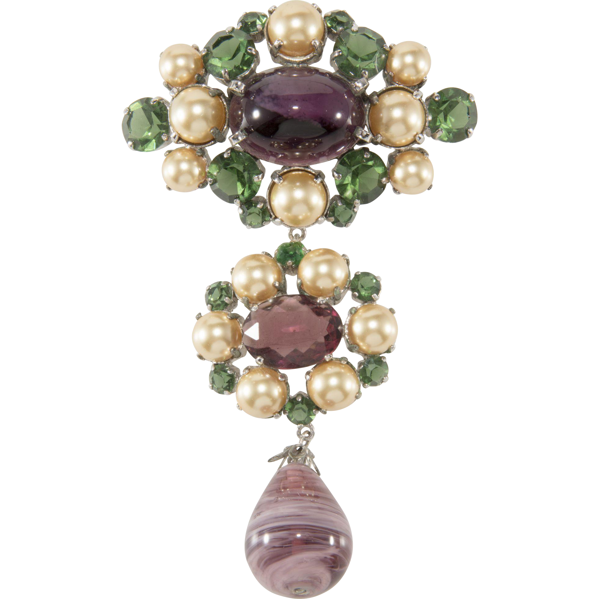 Christian Dior 4.25 Inch Purple and Green Glass Dangle Brooch Pin 1960
