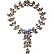 Christian Dior 1962 Red Blue Rhinestone Garland Necklace