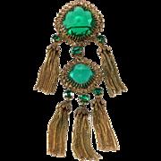 Christian Dior 1960 Emerald Green Tassel Brooch Pin Vintage