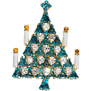 Dominique Bell Rhinestone Christmas Tree Pin Turquoise Blue with Candles