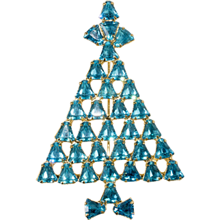 Dominique Turquoise Blue Bell Rhinestone Christmas Tree Pin Brooch