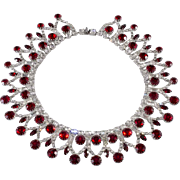 Dominique Red Clear Rhinestones Collar Necklace