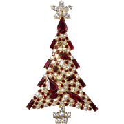 Dominique Red Clear Rhinestones Collage Christmas Tree Brooch Pin
