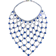 Dominique HUGE Blue Rhinestone Bib Necklace