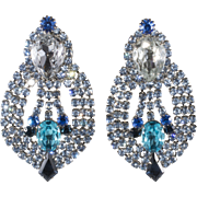 Dominique Blue Rhinestone Statement Earrings