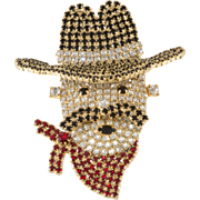 Dominique Rhinestone Cowboy Face Brooch Pin