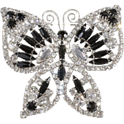"Dominique 3"" Art Deco Revival Rhinestone Butterfly Brooch Pin"