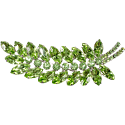 Dominique Green Rhinestone Leaf Brooch Pin