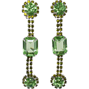 Dominique Peridot Green Rhinestone Dangle Earrings