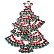 Dominique Red Green Layered Rhinestone Christmas Tree Pin Brooch