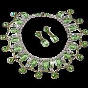 Dominique Peridot Green Rhinestone Collar Necklace & Earrings Set