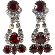 Dominique Red Clear Rhinestone Drop Earrings