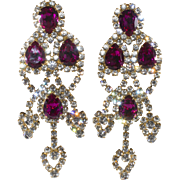Dominique HUGE Fuchsia Clear Rhinestone Earrings