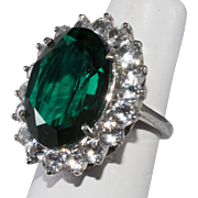 DuJay Sterling Silver Emerald Rhinestone Cocktail Ring Vintage